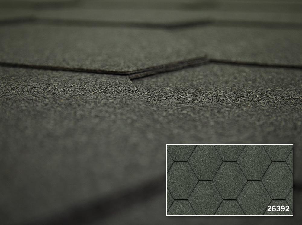 Битумная черепица Kerabit Тройка однотонная, Форма K, цвет 26392 Серый