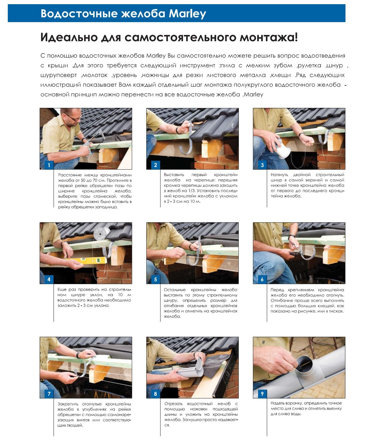Монтаж водосточной системы металлпрофиль своими руками 41