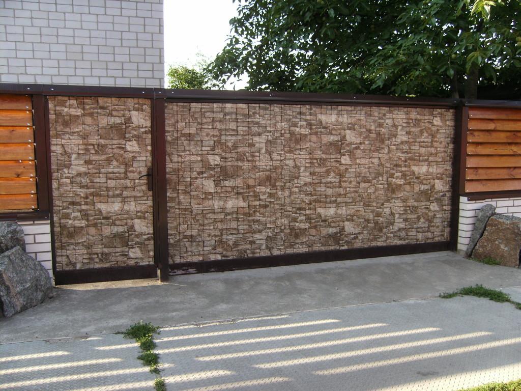 Ворота з профнастилу фото вкольр пд камнь к краснодар ворота