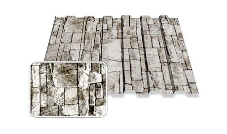 Покрытие PRINTECH! Профнастил под камень, рваный камень White Stone ООО ТК БУДСЕРВИС 044-222-55-03